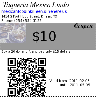 coupons of taqueria mexico lindo 1414 s fort hood street. Black Bedroom Furniture Sets. Home Design Ideas